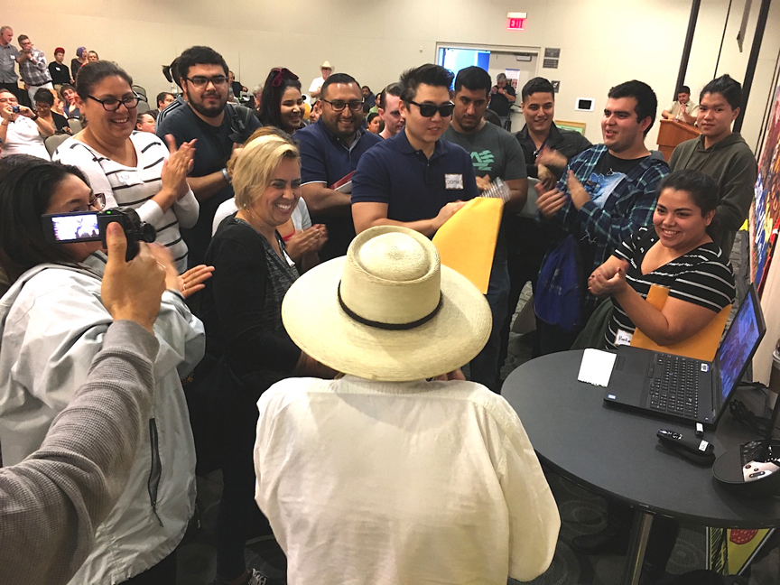 CSU Fullerton students greet San Quintin workers via Skype